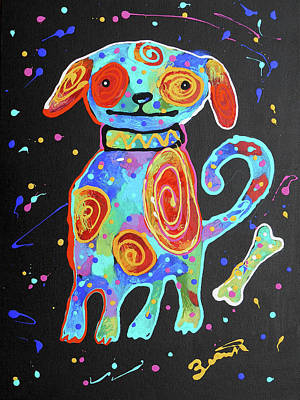 Painting - Cute Puppy by Leon Zernitsky