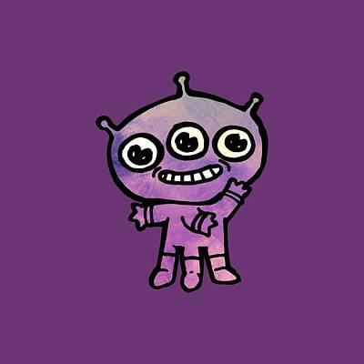 Digital Art - Cute Purple Alien by Jean Moore