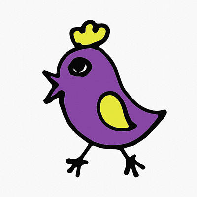 Digital Art - Cute Purple Bird For Kids by Irina Sztukowski