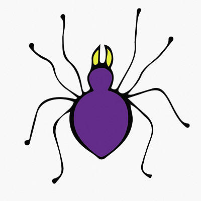Digital Art - Cute Purple Spider by Irina Sztukowski