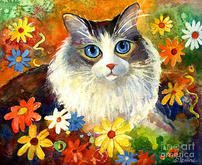 Watercolor Pet Portraits Painting - Cute Ragdoll Tubby Cat In Flowers by Svetlana Novikova