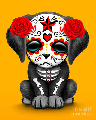 Cute Dogs Digital Art - Cute Red Day Of The Dead Sugar Skull Dog  by Jeff Bartels