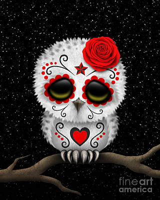 Snowy Day Digital Art - Cute Red Day Of The Dead Sugar Skull Owl On A Branch by Jeff Bartels