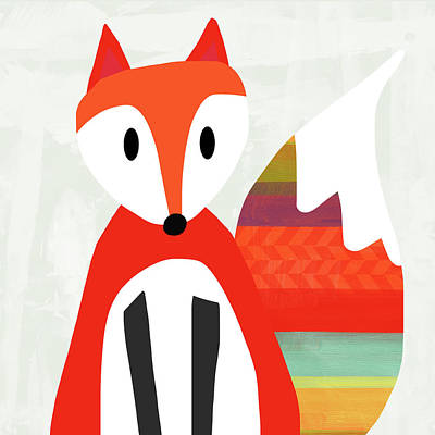 Bright Digital Art - Cute Red Fox 2- Art By Linda Woods by Linda Woods