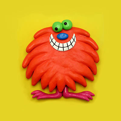 Claymation Sculpture - Cute Red Monster by Amy Vangsgard