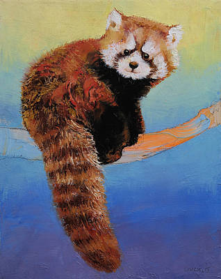 Impasto Oil Painting - Cute Red Panda by Michael Creese