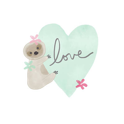 Mixed Media - Cute Sloth With Heart- Art By Linda Woods by Linda Woods