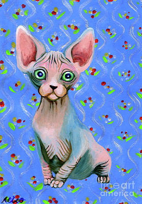 Sphynx Cat Painting - Cute Sphynx by Akiko Okabe