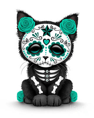 Cute Kitten Digital Art - Cute Teal Blue Day Of The Dead Kitten Cat  by Jeff Bartels