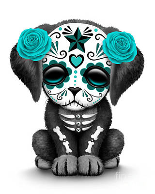 Puppies Digital Art - Cute Teal Blue Day Of The Dead Sugar Skull Dog  by Jeff Bartels