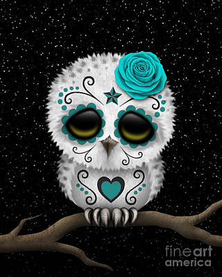 Snowy Day Digital Art - Cute Teal Day Of The Dead Sugar Skull Owl On A Branch by Jeff Bartels