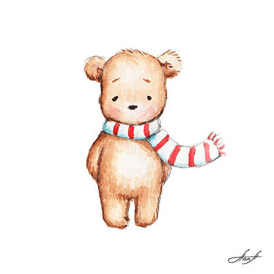 Cute Teddy Bear With Red And White Scarf Art Print by Anna Abramska