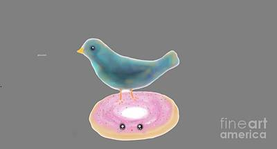 Digital Art - Kawaii Donut And Blue Bird  by Reina Resto