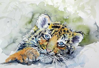 Tiger Cub Painting - Cute Tiger Cub by Kovacs Anna Brigitta