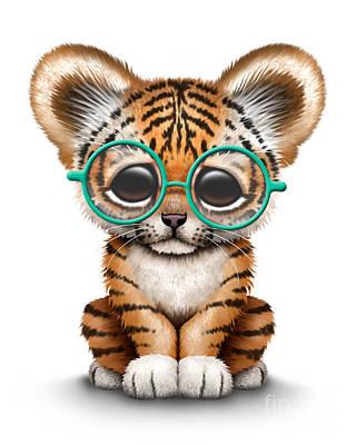 Cute Tiger Cub Wearing Glasses Print by Jeff Bartels
