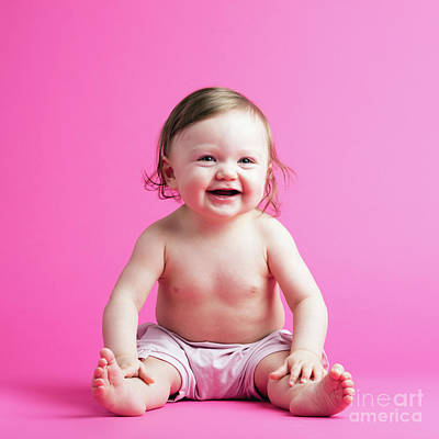 Photograph - Cute Toddler In A Diaper On Pink Background by Michal Bednarek