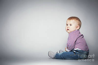 Photograph - Cute Toddler Sitting On The Floor. by Michal Bednarek