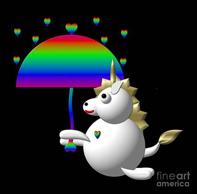 Alphabetical Digital Art - Cute Unicorn With An Umbrella by Rose Santuci-Sofranko