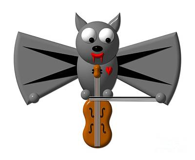 Violin Digital Art - Cute Vampire Bat With Violin by Rose Santuci-Sofranko