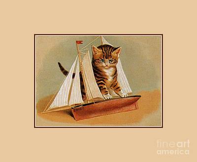 Toy Boat Digital Art - Cute Victorian Kitten, Wooden Toy Ship by Heidi De Leeuw
