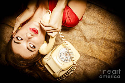 Cute Vintage Pin Up Girl Making Telephone Call Art Print