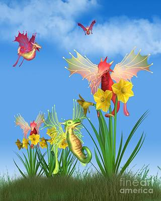 Digital Art - Cute Welsh Dragons And Daffodils On A Sunny St David's Day by Fairy Fantasies