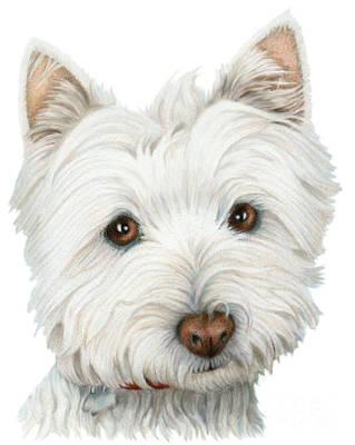 Cute Dog Digital Art - Cute Westie Dog Art by Ckeen Art