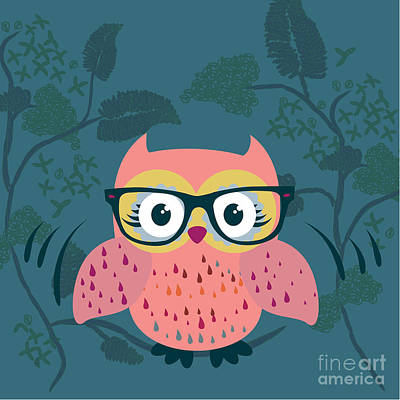 Cute Wild Life Hipster Owl. Art Print by Gal Amar