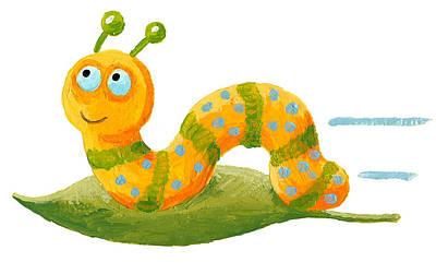 Drag Mixed Media - Cute Worm On The Green Leaf by Hicham  Attalbi alami