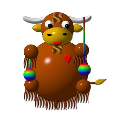 Yak Digital Art - Cute Yak With Yo Yos by Rose Santuci-Sofranko