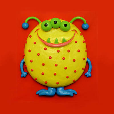 Polymer Clay Mixed Media - Cute Yellow Monster by Amy Vangsgard