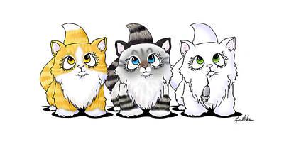 Cutie Face Kitten Trio Print by Kim Niles