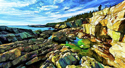 Digitally Manipulated Photograph - Cutler Coast At Fairy Head by ABeautifulSky Photography by Bill Caldwell