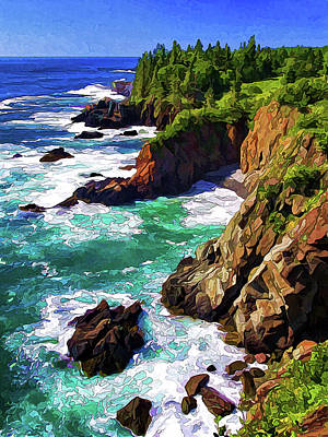 Cutler Coast Whitewater Art Print by ABeautifulSky Photography