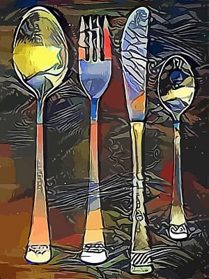 Tableware Digital Art - Cutlery Set Drawing by Miroslav Nemecek