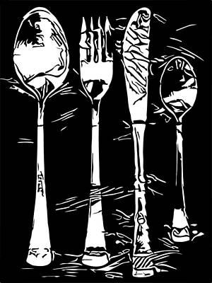 Tableware Digital Art - Cutlery Set Drawing Silhouette by Miroslav Nemecek