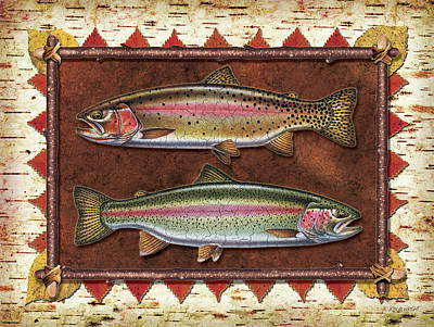 Bark Painting - Cutthroat And Rainbow Trout Lodge by JQ Licensing