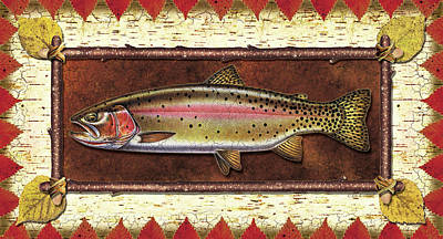 Bark Painting - Cutthroat Trout Lodge by JQ Licensing