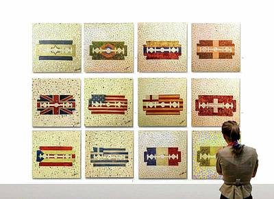 Flag Painting - Cutting Edge Exhibit by Emil Bodourov