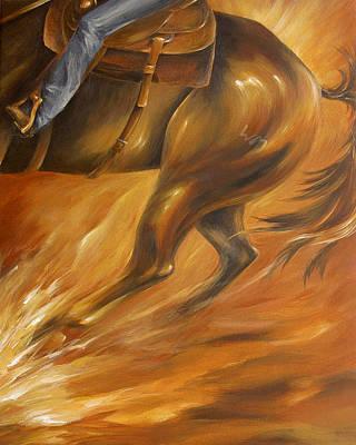 Art Print featuring the painting Cutting Horse Closeup 2 by Dina Dargo