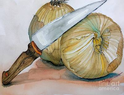 Cutting Onions Art Print
