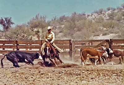Working Cowboy Photograph - Cutting Out The Black Steer by Elizabeth Hershkowitz