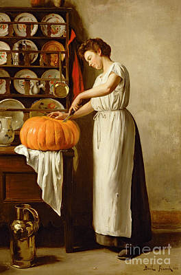 Pumpkin Painting - Cutting The Pumpkin by Franck-Antoine Bail