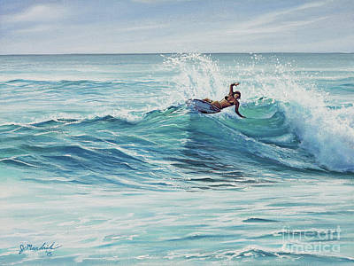 Crashing Wave Painting - Cutting Through The Peak by Joe Mandrick