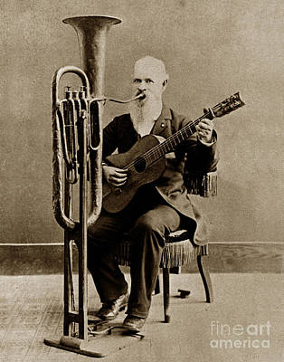 Photograph - C. W. J. Johnson With His One-man Band Invention 1880 by California Views Archives Mr Pat Hathaway Archives