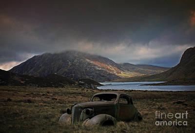 North Wales Digital Art - Cwm Idwal Car Wreck by Chris Evans