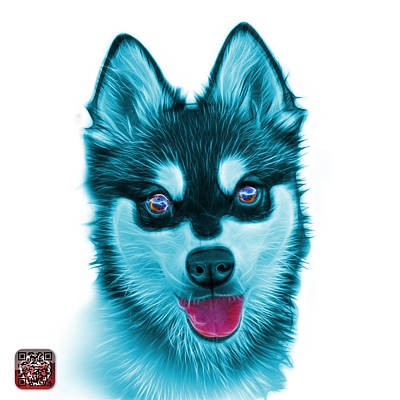 Painting - Cyan Alaskan Klee Kai - 6029 -wb by James Ahn
