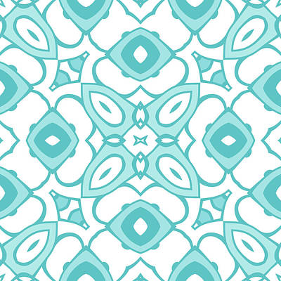 Digital Art - Cyan Blue Modern Decor Design by Georgiana Romanovna