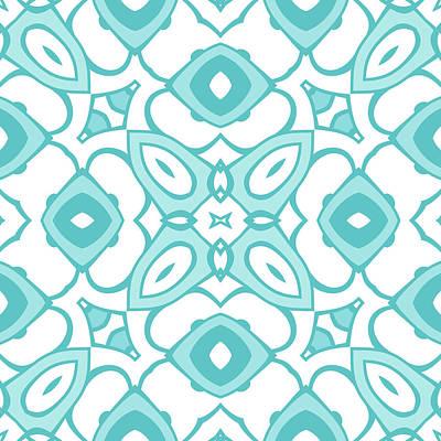 Digital Art - Cyan Blue Modern Decor Design by Georgiana Romanovna