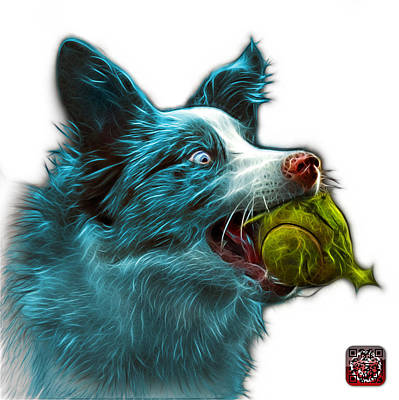 Painting - Cyan Border Collie - Elska -  9847 - Wb by James Ahn